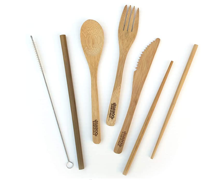 a bamboo cutlery set, sustainable kitchen items, eco-friendly