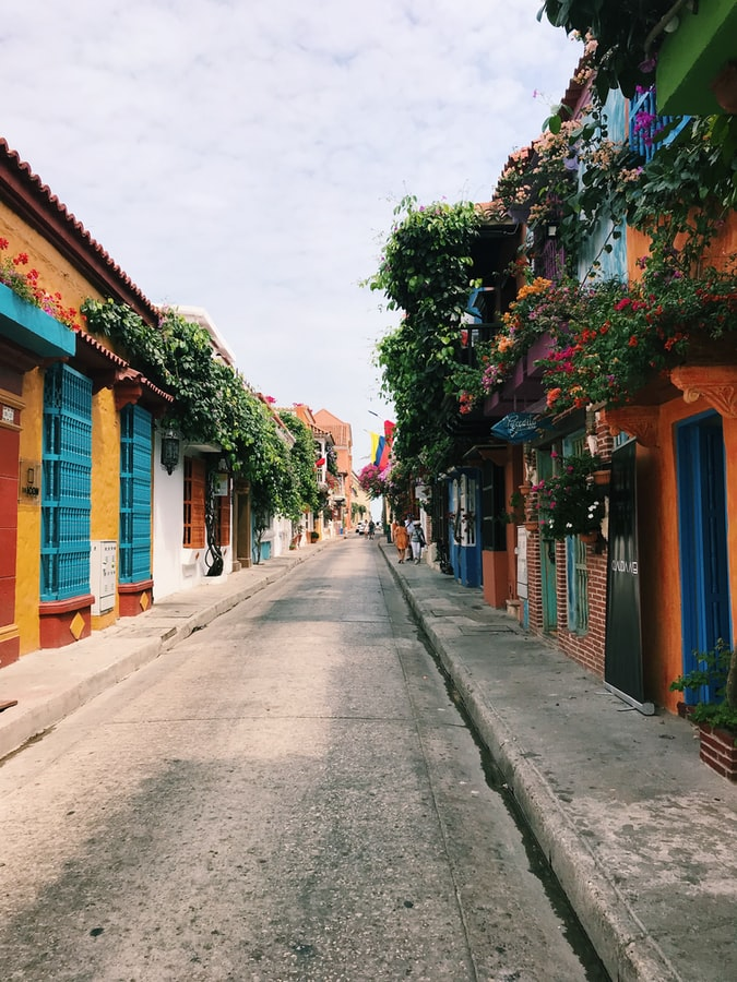a colorful street in colombia, greenery and houses, travel in colombia