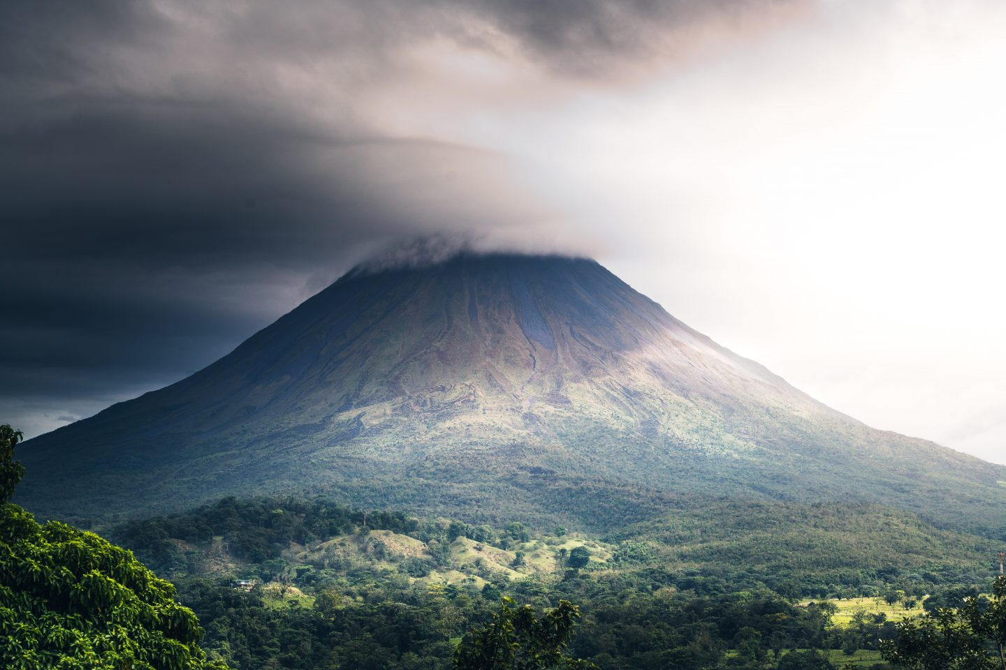 costa rica travel, a mountain and volcano in costa rica during fog, nature view