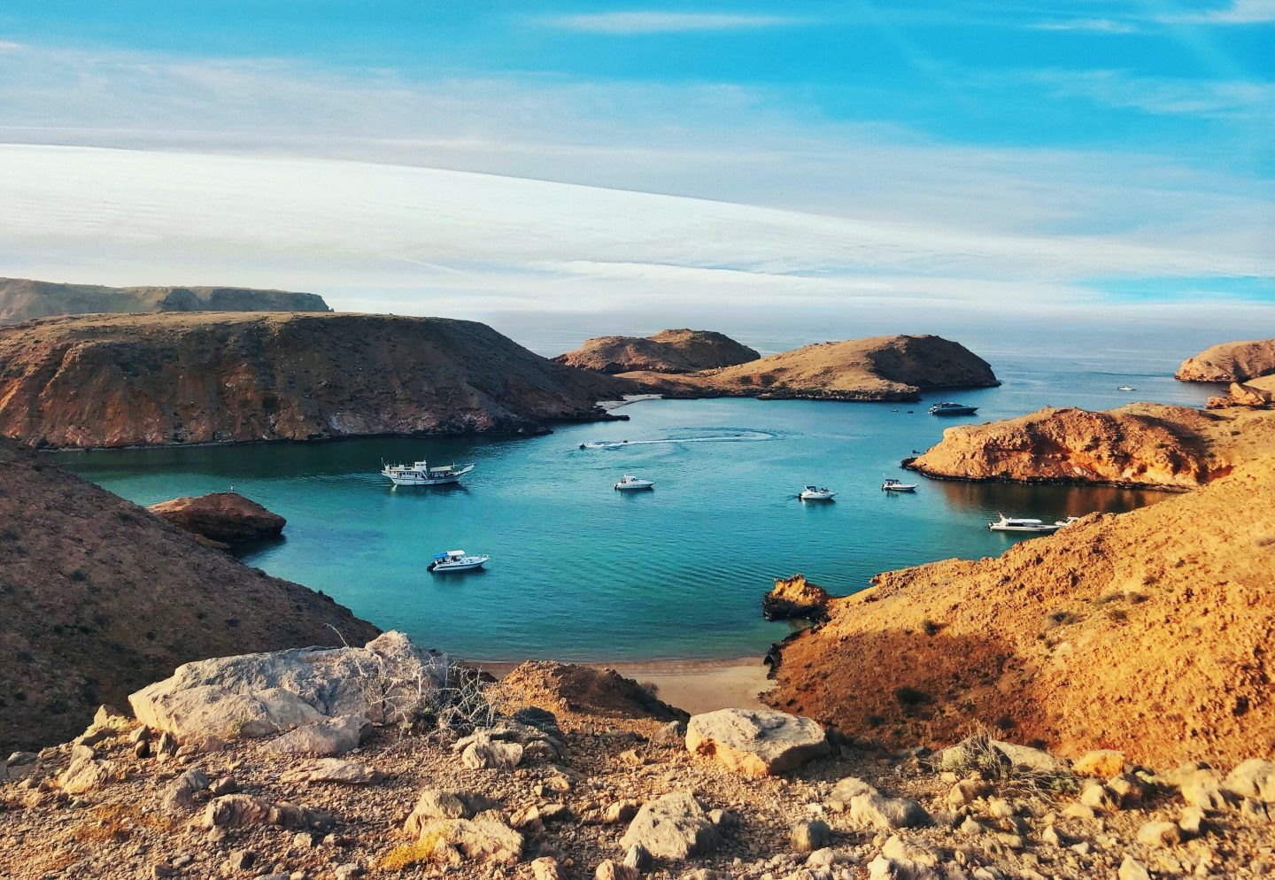 oman travel, view over the bay and rocks in oman
