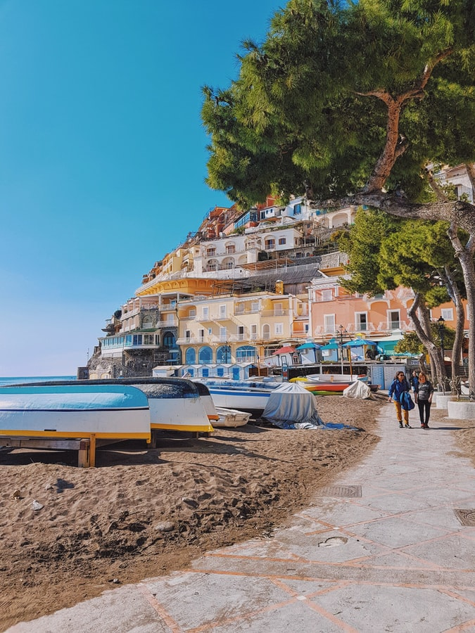 boats on the beach, ocean view and a view over positano