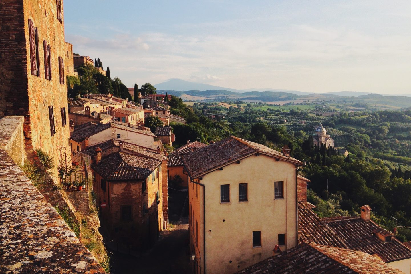 view over the mountains in italy, tuscany region, old village