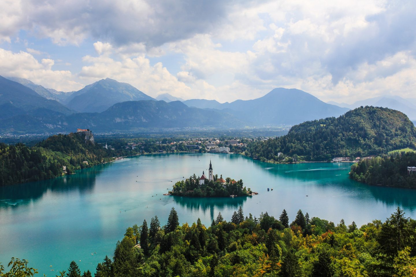 view over lake and city in slovenia, slovenia travel, nature in slovenia