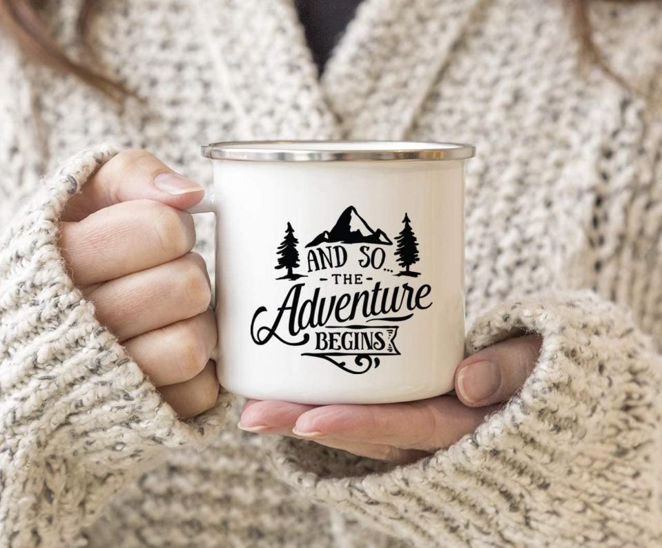 stainless steel travel mug, and so the adventure awaits mug