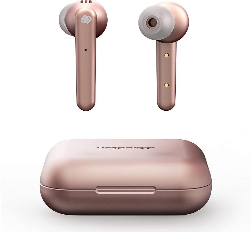urbanista bluetooth earphones, earphones for travelling, gift guide for christmas, travel gift guide, rosegold earphones