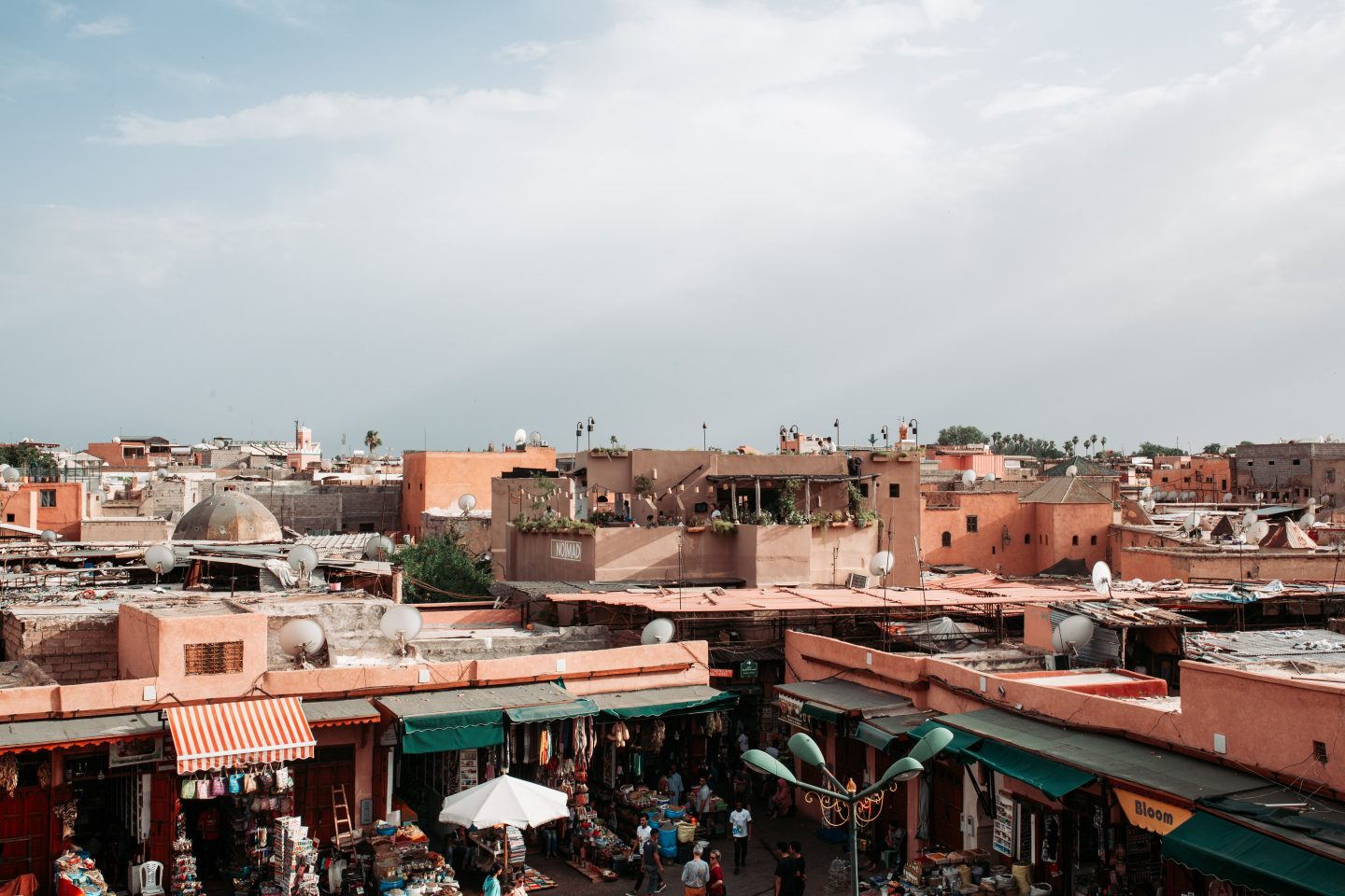 a view over the colored houses in marrakech, travel in marrakech