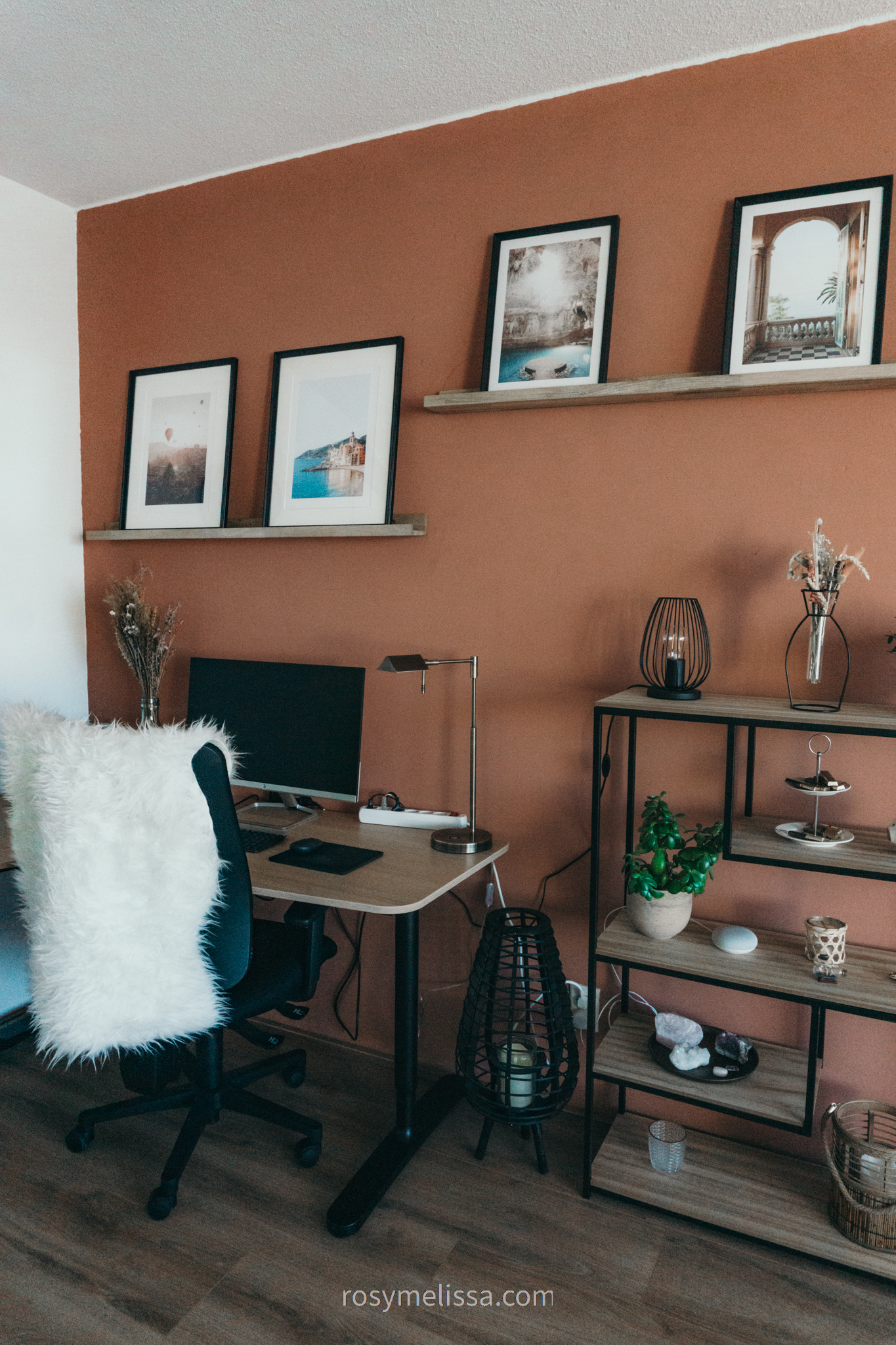 full overview on office, work space area, working from home, productivity corner