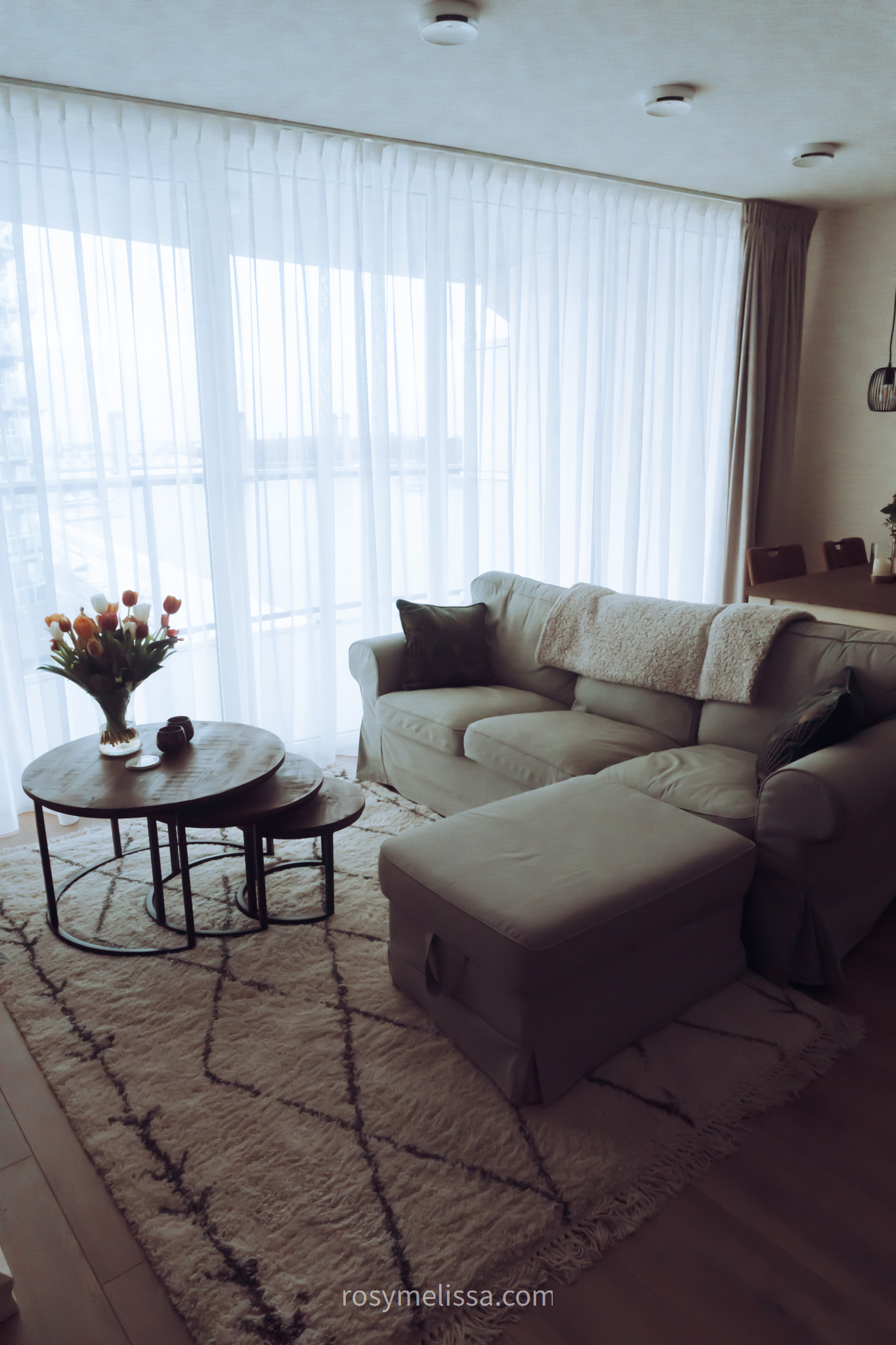 living room decor, view outside, grey couch, flowers