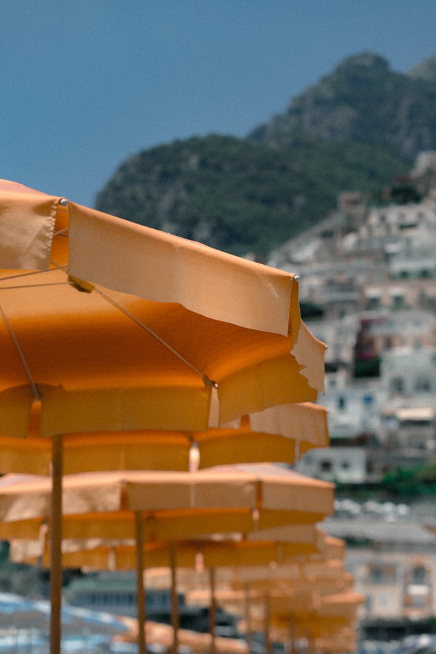 view over parasols in italy, view over cinque terre